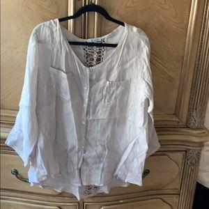 Beige linen button down shirt